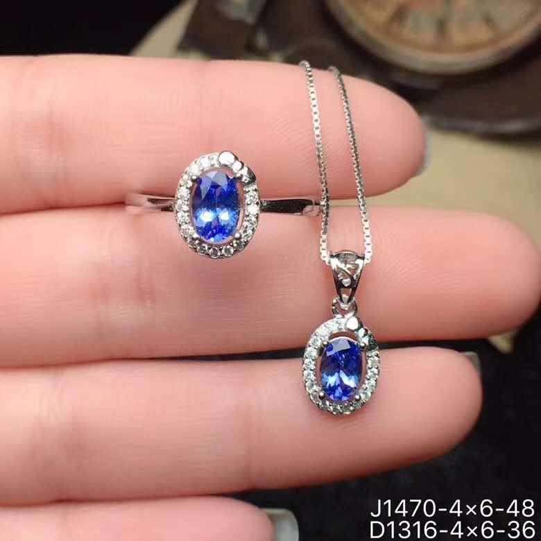 Ensemble de bijoux en Tanzanite naturelle véritable Tanzanite en argent sterling 925 pendentif 1 pièce, bague 1 pièce