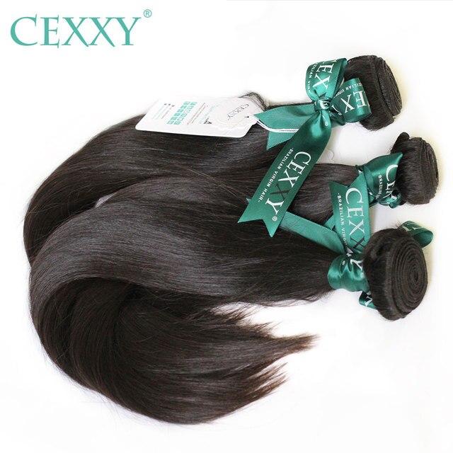 Cexxy 12Aミンクの毛未処理のバージン少女人間織りバージンヘアストレートブラジル髪織りバンドルナチュラルカラー