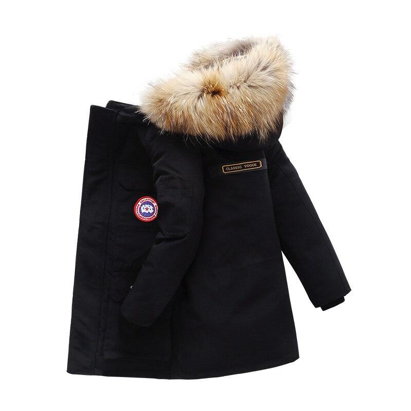 OLEKID-30 degrés 2019 garçons veste d'hiver à capuche col en fourrure chaud Long adolescents manteau 5-14 ans doudoune pour enfants