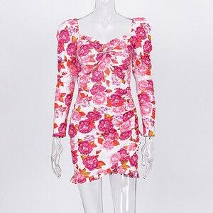 Image 5 - Женское мини платье с рюшами и цветочным принтом, длинным рукавом