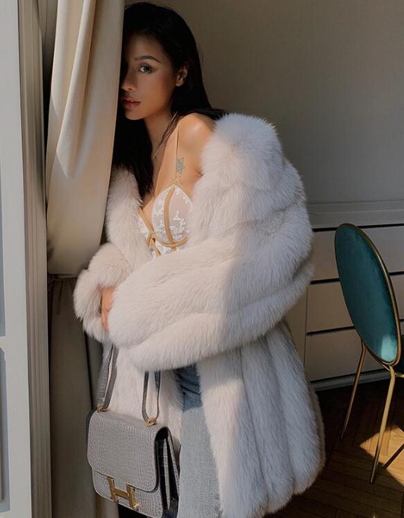 Роскошное женское 2019 зимнее пальто из натурального Лисьего меха, утолщенная теплая длинная парка, пальто, 100% натуральное меховое пальто, ку... - 6