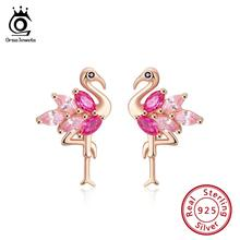 ORSA JEWELS Genuine 925 Sterling Silver Flamingo Shape Stud Earrings Combine With Rose & Pink AAAA Zircon Earrings Jewelry SE164