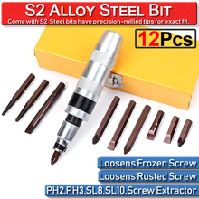 12PCS Heavy Duty CrV Steel Impact Screwdriver Driver Set Bits 1/2