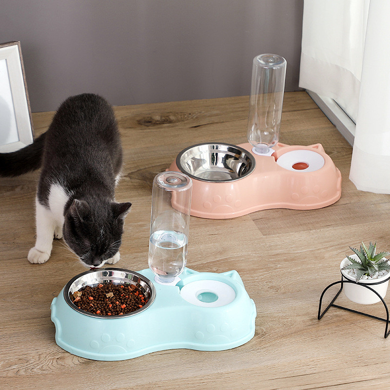 Creativity Pet Automatic Refill Water Feeding Device Double Bowl Design Dogs And Cats Feeder Drinking Fountain Pet Supplies