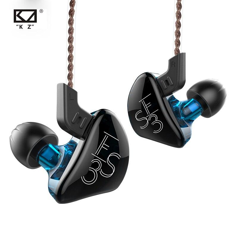 KZ ES3 Hybrid Technology Earphones 1DD+1BA In Ear Monitors HIFI Stereo Sport Headset Sport Noise Cancelling Earbuds