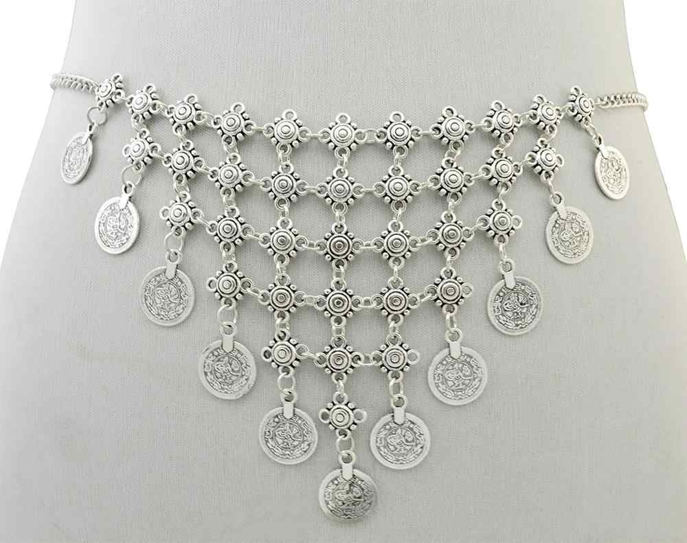Ethnic Gypsy Bohemia Turkish Silver Engraving Belt Belly Body Chain Jewelry