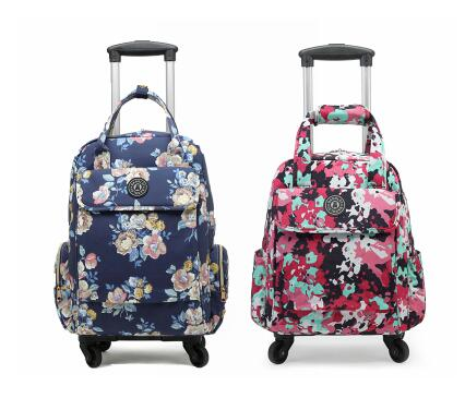 Women Travel Trolley Bags Travel Luggage Bags On Wheels Trolley Backpacks Carry On Luggage Bags Oxford Rolling Wheeled Backpack