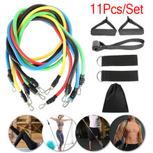 11 Pcs/Set Fitness Latex Resistance Bands Set Fitness Rubber Bands Training Exercise Yoga Pull Rope Gym Equipment Elastic Bands