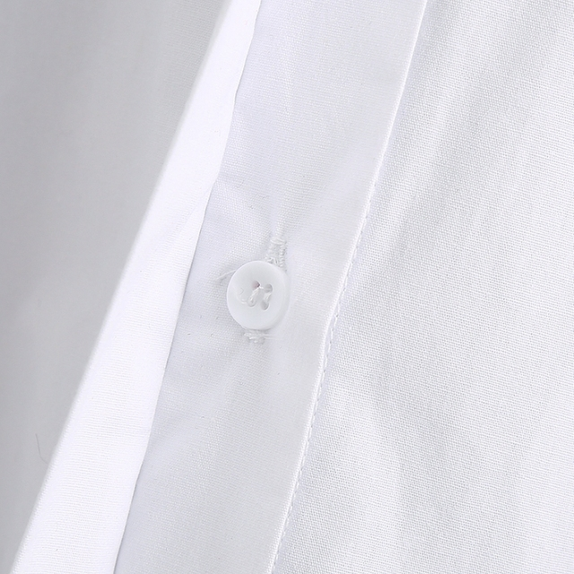 New 2020 women simply style buttons decoration casual white poplin blouse office lady side split shirts chic blusas tops LS6562 5