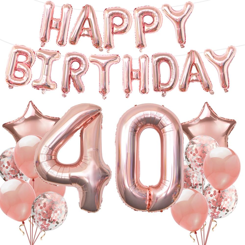 Ensemble de ballons à hélium 40T or Rose, décoration de fête d'anniversaire pour adultes, bannière joyeux anniversaire, 1 ensemble