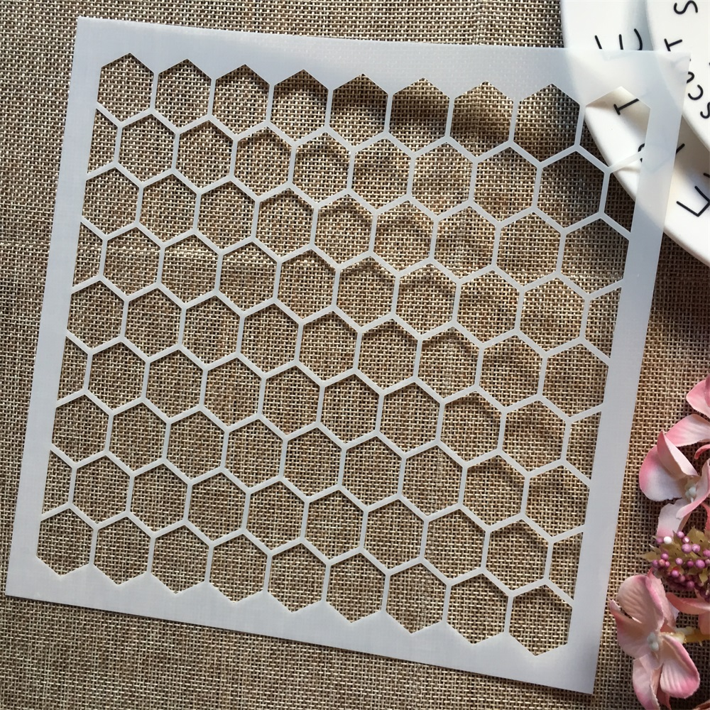1Pcs 8*8inch Hive Hexagon Texture DIY Layering Stencils Painting Scrapbook Coloring Embossing Album Decorative Template