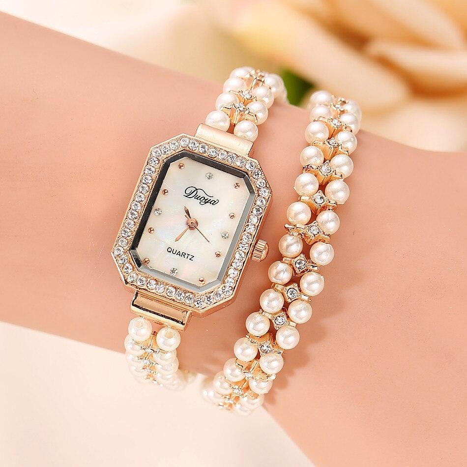 נשים קוורץ שעון גבירותיי זהב פרל תכשיטי פלדת צמיד שעוני יד קריסטל מקרית בנות שעון שעה Reloj מתנות Часы Женские