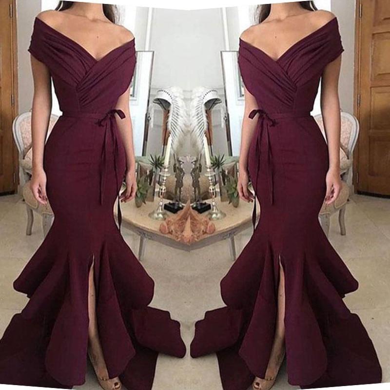 Simple Burgundy Mermaid Bridesmaid Dresses Sexy Cap Sleeve Ruffles Split Prom Party Wear Dress Custom Made Prom Gowns Plus Size