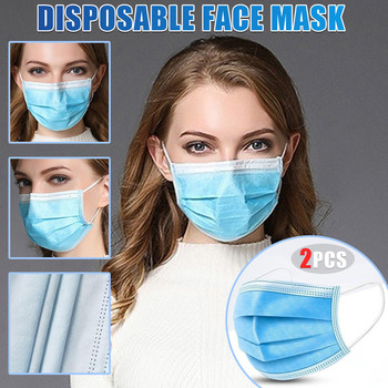 Blue Face Mask Cover Dustproof 3 Layer Mouth Filter Masks Breathable Safety Four Seasons Protective Windbreak Mouth Caps 2 pcs image