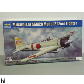 Trumpeter 1/24 02405 Mitsubishi A6M2b Model 2I Zero Fighter Plane Aircraft Military Assembly Plastic Model Building Kit image
