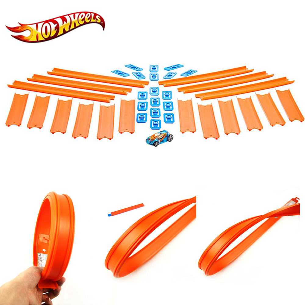 Hot Wheels Track Builder Straight Track With Car BHT77 Toy Set Connect Other Hotwheels Track Accessory 18pcs For Gift Mattel Car