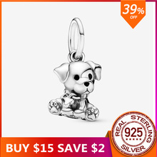 2020 Authentic 925 Sterling Silver Labrador Puppy Dog Dangle Charm Bead Charms Fit Original Pandora Charm Bracelet DIY Jewelry 925 sterling silver bead shine family heritage dangle charm beads fit pandora charms silver 925 original bracelet diy jewelry