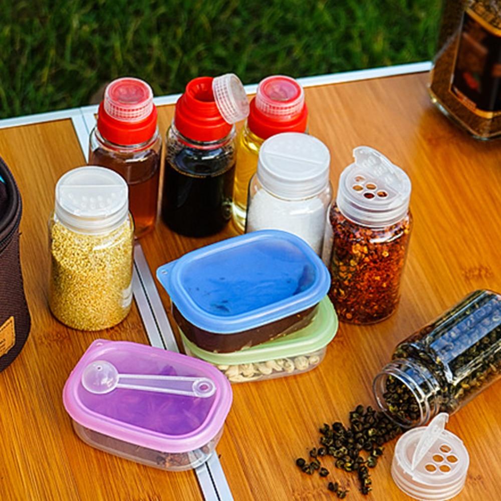 10шт% 2Fset приправы бутылки специи пищевые продукты масло барбекю посуда приправы коробка комбинация кемпинг пикник посуда аксессуары