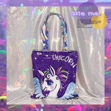 Cute Unicorn Linen Casual Women Shopper Bag Fashion Large Capacity Canvas for Ladies Recycling Shopping TB04