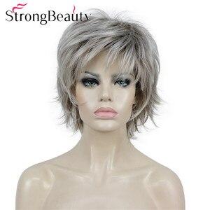 Сильный красота Синтетические Искусственные парики коричневый черный блондинка короткие волнистые пушистые слоистых вырезать Искусствен...