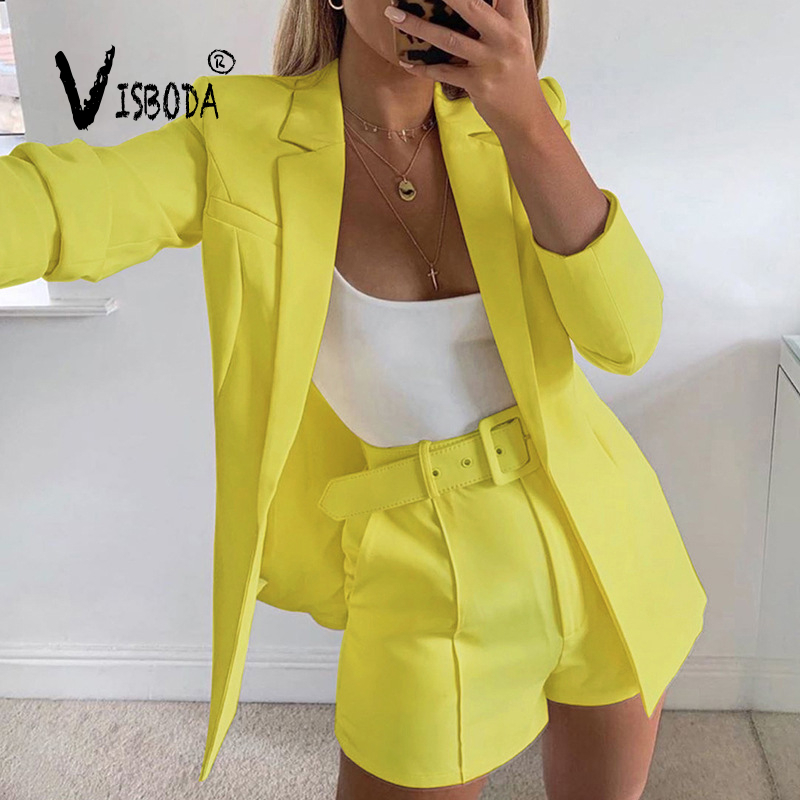 Women Pink Blazer Suit Office Fashion Autumn Ladies Blazer Jacket And Shorts With Belt 2 Piece Sets High Street Femme Outfits