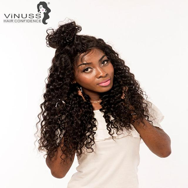 Vinuss Full Lace Human Hair Wigs For Black Women deep wave Lace Front Wigs Brazilian Remy Pre Plucked Bleached Knots