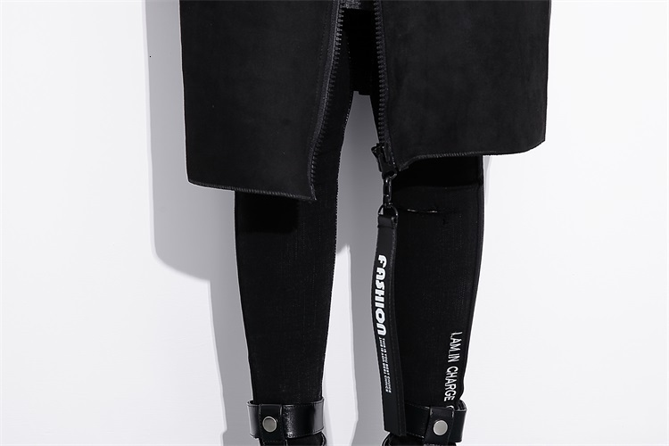 Hc6e6f0a1b5da4c55837136bc632376ccD [EAM] Loose Fit Black Pu Leather Spliced Big Size Jacket New Stand Collar Long Sleeve Women Coat Fashion Autumn 2019 JC2530