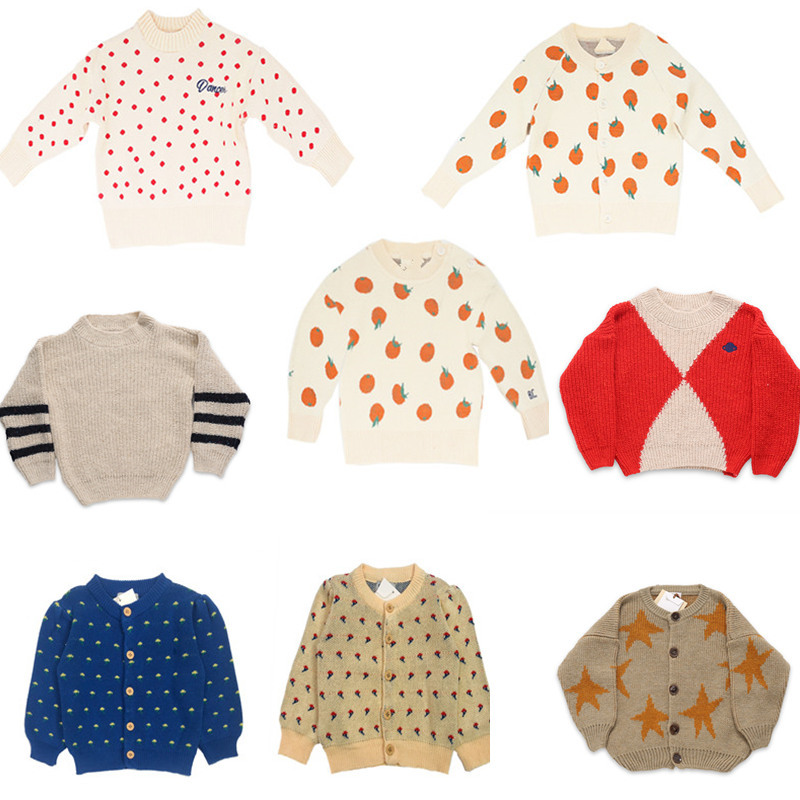 Kids Sweater Brand 2021 Autumn Winter Toddler Girl Clothes Orange Knitted Baby Boys Coat Jacket Children Fashion Girls Outfits 1