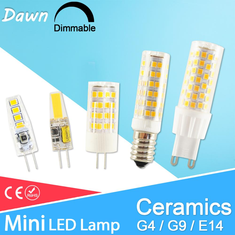 No Flicker Dimmable Ceramic LED G4 Light G9 Led Lamp E14 Bulb 220V AC DC 12V LED G9 3W 5W 6W 7W 9W 10W 12W 1505 2508