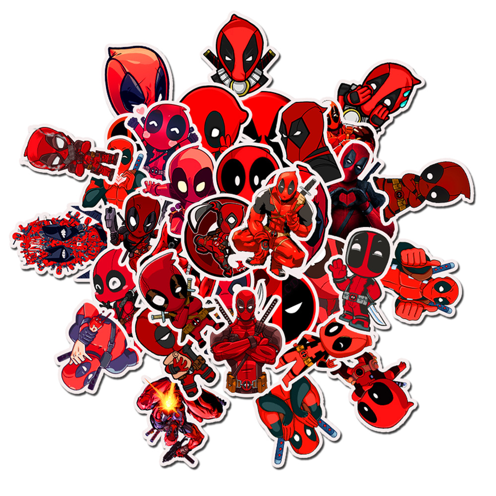 75Pcs/pack Deadpool Stickers For Cool Fashion Laptop Trunk Motorcycle Skateboard Bicycle Toy