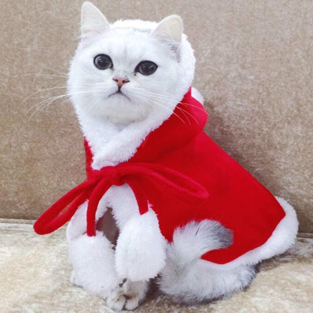 Delifur Cat Christmas Cloak with Star and Pompoms Pet Santa Claus Costume Christmas Poncho Cape with Hat for Puppy Cat Small, Green