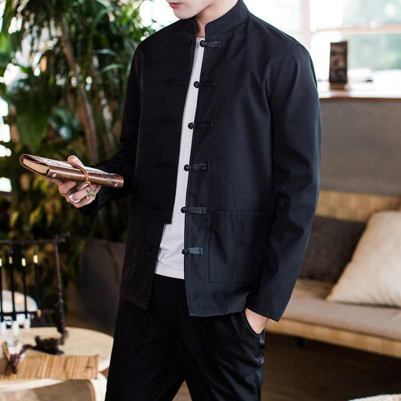 מסורתי סיני סגנון רקמת דרקון Hanfu חולצה טאנג חליפת גברים קונג פו חולצות חולצות מעיל Cheongsam חדש שנה מעילי KK3246
