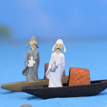 2PCS Vintage Poet Take Boat Miniature Doll Garden Decor Home Houses Decoration Crafts DIY Accessories Garden Decoration(China)