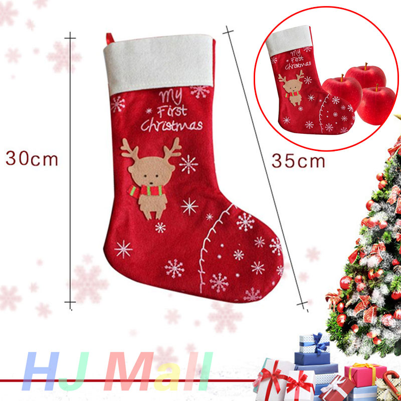 Ornament Xmas Sock Gift Christmas Deer Home Bag Holiday Supplies Red White Party Santa