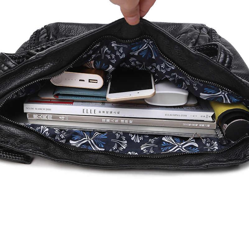 Ougger médio bolsas de ombro femininas crossbody sacos estilo europeu e americano preto pele carneiro bolsa para viagem de negócios