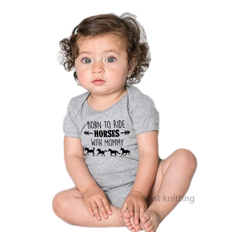 Summer Baby Onesie Romper Crawling Clothes Born To Ride Horses With Mommy Printed Clothes