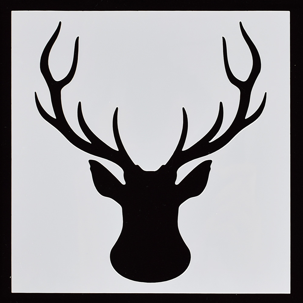 1PCS Elk Head Deer Flower Reusable Stencil Airbrush Painting Art Cake Spray Mold DIY Decor Crafts