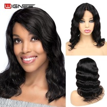 Wigs Short Lace-Part Remy-Hair Glueless Loose Women Brazilian Wave Wignee for Black Swiss