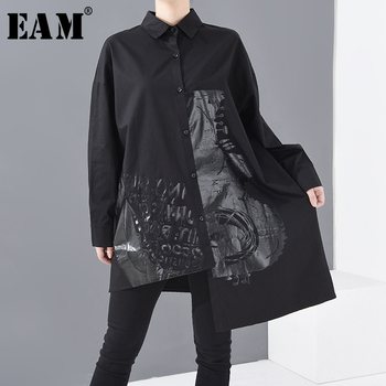 [EAM] Women Black Pattern Printed Irregular Big Size Blouse New Lapel Long Sleeve Loose Shirt Fashion Spring Summer 2020 1R93301