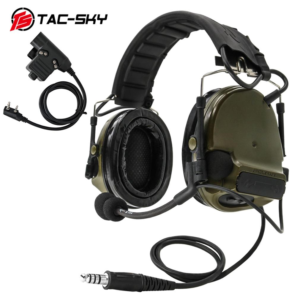 TAC-SKY COMTAC COMTAC III Silicone Earmuffs Noise Reduction Pickup Tactical Headset FG+military Adapter PTT KENWOOD U94 PTT
