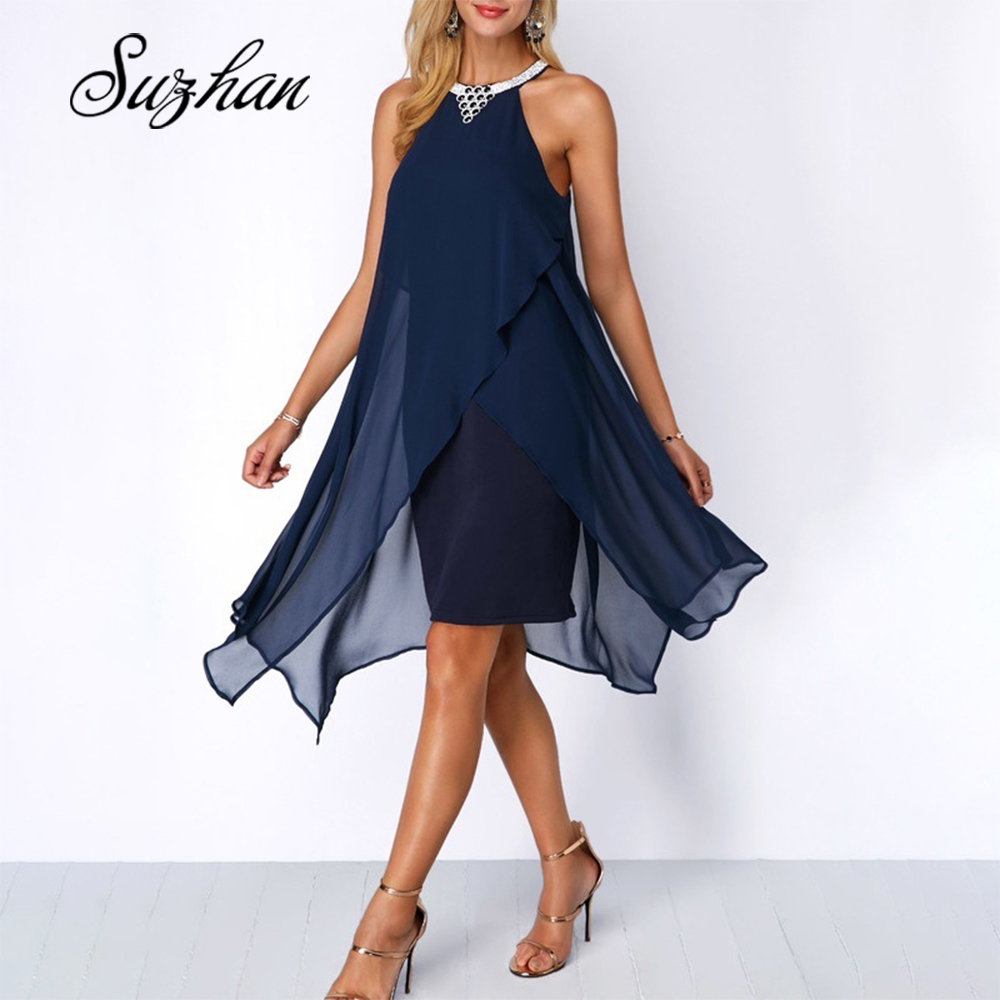 Suzhan <font><b>2019</b></font> <font><b>Sexy</b></font> <font><b>Women</b></font> Irregular <font><b>Dress</b></font> Halter Neck Sleeveless Solid Summer <font><b>Dresses</b></font> Loose <font><b>Dress</b></font> image