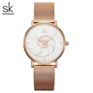 Image 1 - Shengke Vrouwen Mode Shell Creative Dial Japanse Quartz Horloge Lady Rosegoud Mesh Armband Waterdicht Horloge Montre Femme