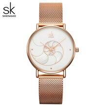 Shengke kadın moda kabuk yaratıcı Dial japon Quartz saat bayan gül altın örgü bilezik su geçirmez kol saati montre femme