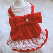 Shirt Outfit Girl Pet-Puppy-Spring/summer Big Cat Dog Dress Bow-Design 2-Colors 5-Sizes