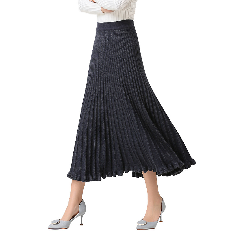 Women's Pleated Skirt Knit Rabbits Hair Fur Autumn Winter  Europe High Waist Solid Skirts Woman Knitting Falda Female LS213