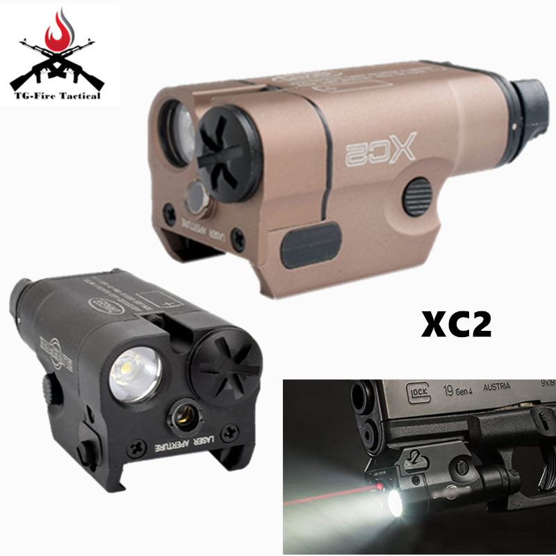 Tactical Hunting Light XC2 Ultra Compact Pistol Light Red Dot Laser Flashlight LED MINI White Light 200 Lumens Hunting Airsoft image