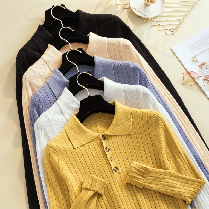 Women Turn Down Collar Casual Pure Button Slim Sweater 2019 Autumn Long Sleeve Cashmere Jumper Solid Pullover Winter Knitted Top