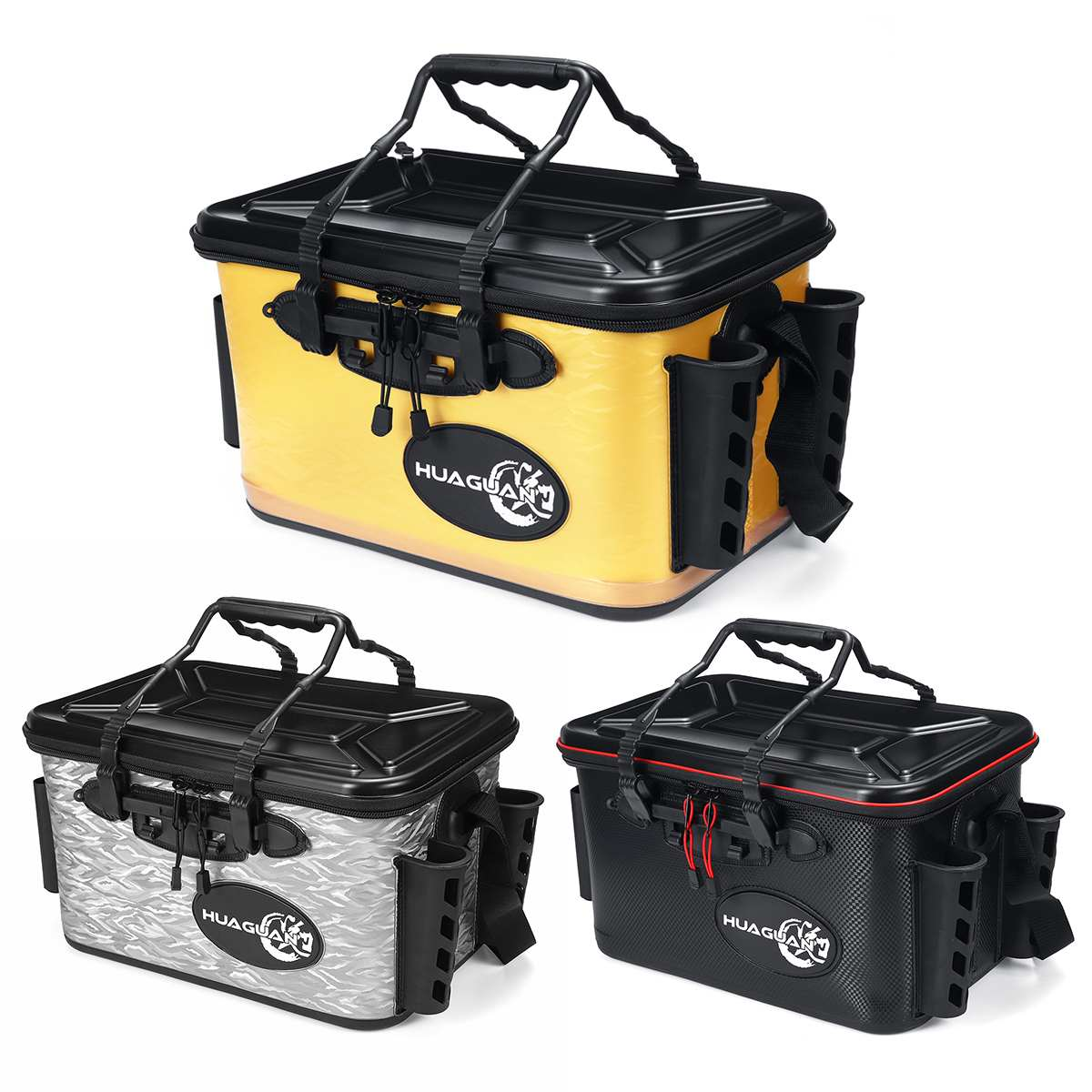 28L Black/Silver/Yellow Fishing Box For Bits In Fishing Tackle Boxes 5V 2600 MAH USB Plastic Multi-function Portable Fishing Box