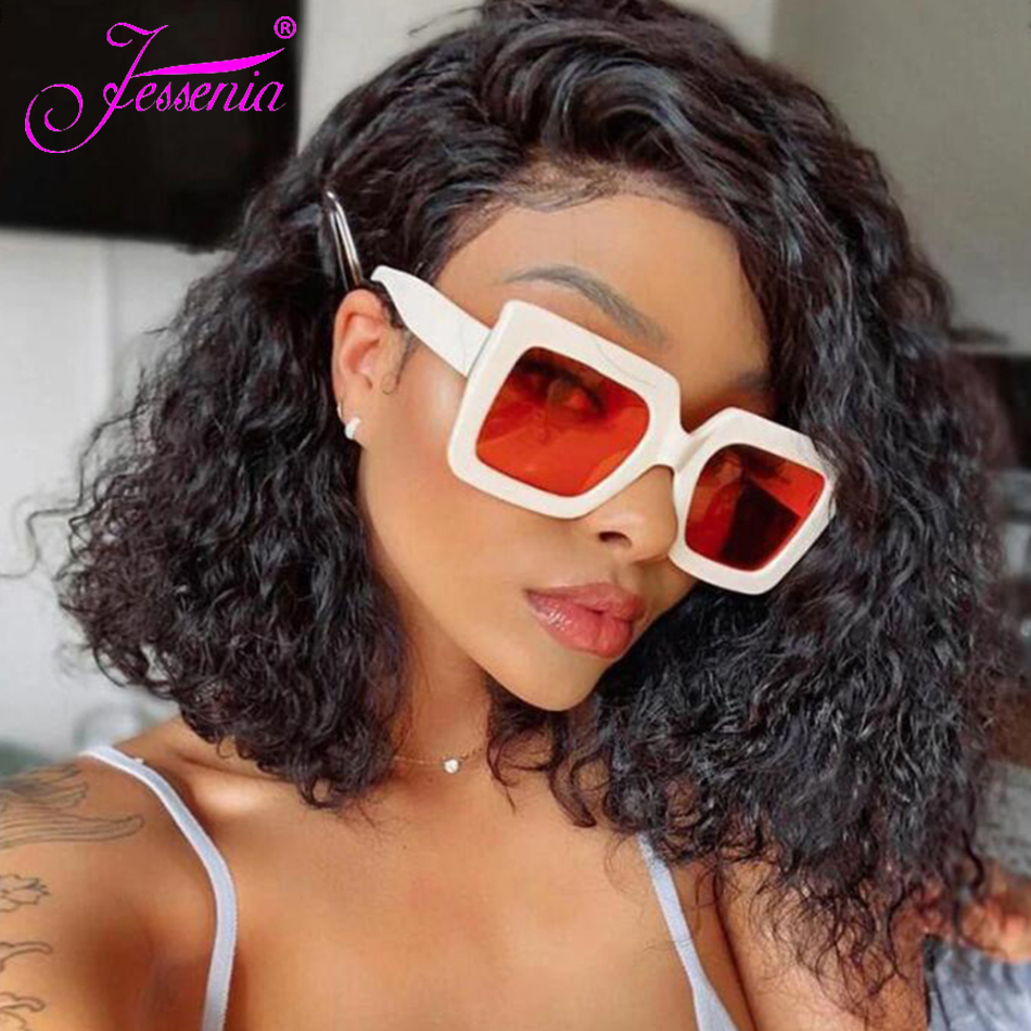 Jessenia 4X4 Water Wave Short Hair Bob Wig Brazilian Human Hair Lace Closure Wig Remy Hair Wig With Natural Hairline 8-16 Inches