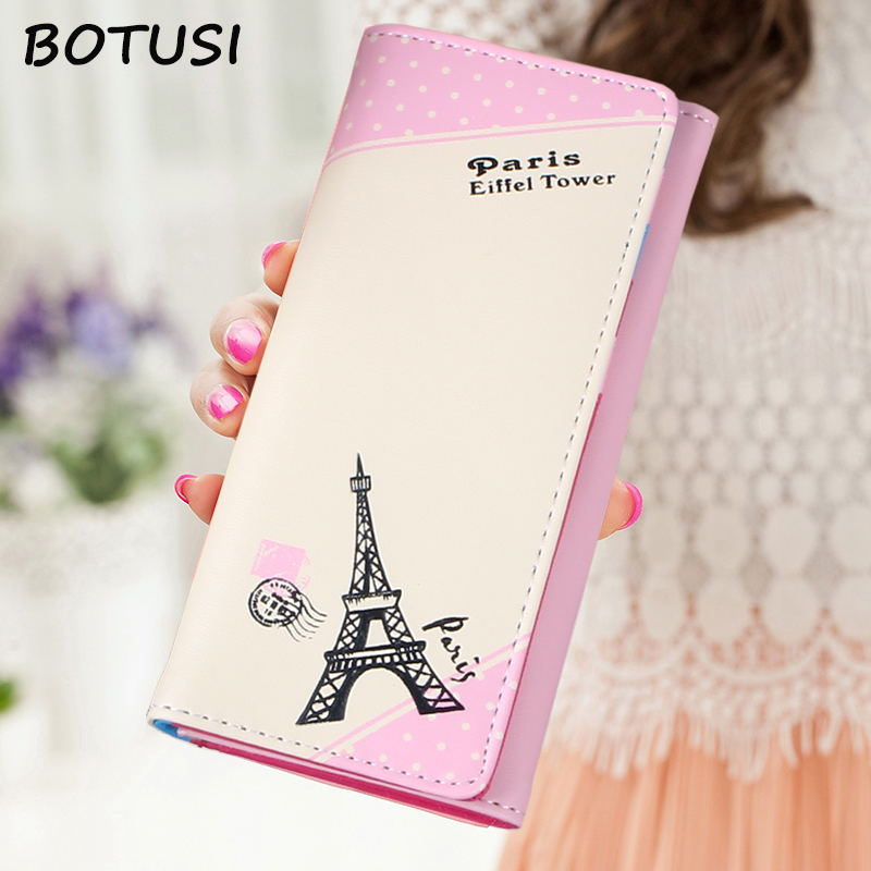 BOTUSI Paris Eiffel Tower Stamps Card Holder Leather Wallet Women Long Wallet PU Leather Passport Cover Fashion Coin Bag Zipper